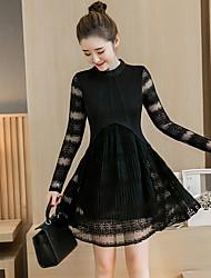 sinal rendas vestido mulheres coreanas em torno do pescoço de renda costura vinco era magro 2017 vestido novo primavera