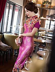 Feminino Bainha Vestido,Casual Sofisticado Bordado Colarinho Chinês Médio Manga Curta Outros Todas as Estações Cintura Média