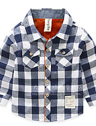 Casual/Daily Solid Shirt,Cotton Winter Fall