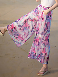 Really making 2017 summer new wide leg pants female trousers female chiffon printed beach vacation wind casual pants