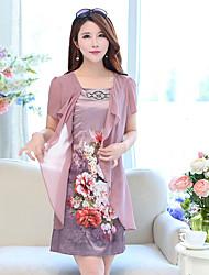 Mutter mittleren Alters Kleid-Frauensommer short-sleeved Chiffon- Kleid Rock langen Abschnitt in den älteren 40-50-60 Jahre alt