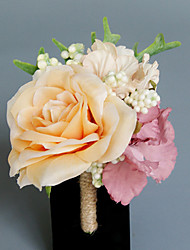 Wedding Flowers Free-form Roses Peonies Boutonnieres Wedding Party/ Evening Champagne / Green Satin