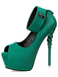 Feminino-Saltos-Conforto Inovador Gladiador Sapatos clube-Salto Agulha-Preto Cinzento Vermelho Verde Rosa claro-Courino-Casamento