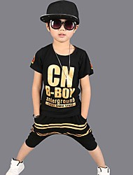 Boy's Cotton Fashion Pure Cotton Round Collar Gold Lettering Printing Short Sleeve Harlan Shorts Street Dance Eng Two-Piece Outfit