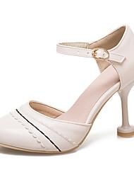 Damen High Heels Club-Schuhe Komfort Kunstleder Frühling Sommer Normal Kleid Club-Schuhe Komfort Schnalle Spitze BlockabsatzWeiß Beige