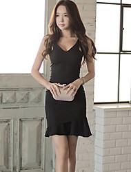 2016 summer new Korean Women temperament ladies sleeveless halter dress stitching package hip fishtail