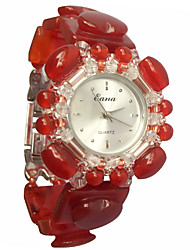Women's Fashion Watch Bracelet Watch Quartz Jade Band Red