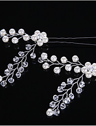 2 Pieces Pearl Crystal Alloy Headpiece-Wedding Special Occasion Casual Hair Clip Hair Pin Hair Stick