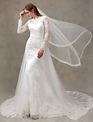 Trumpet / Mermaid Wedding Dress Two-in-One Sweep / Brush Train Bateau Lace Tulle with Appliques