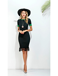 Sign trade new European package hip Slim short-sleeved dress Holiday skirt long section