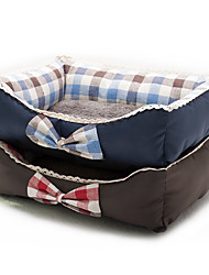 Cat Dog Bed Pet Beds Check Fabric Blue Red