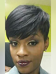 peluca corta el pelo pixie negras naturales rectas sin tapa pelucas de pelo humano para las mujeres