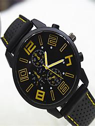 Masculino Relógio de Moda Quartzo Silicone Banda Casual Preta Amarelo Vermelho Azul