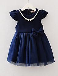 Girl's Beach Solid Dress,Spandex All Seasons Short Sleeve