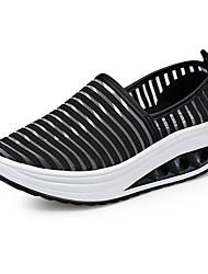 Feminino-Mocassins e Slip-Ons-Sapatos de Berço-Anabela-Branco Preto Cinzento Escuro Rosa e Branco Branco/Amarelo-Tule-Social Casual Para