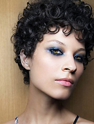 Fashionable  Perfect Black Short Curly Hair  Synthetic Wig