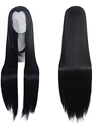 Mujer Pelucas sintéticas Sin Tapa Largo Muy largo Liso Negro Raya en medio Peluca de cosplay Peluca de Halloween Peluca de carnaval Las