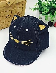 Children's Lovely Cat Cartoon Cowboy Stripes Along The Sunshade Prevented Bask Baseball Cap