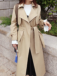 Women's Casual/Daily Simple Spring Trench Coat,Solid Shawl Lapel Long Sleeve Long Cotton