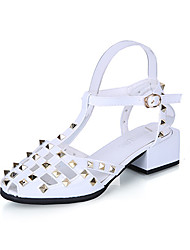 Women's Sandals Gladiator PU Spring Summer Casual Dress Gladiator Rivet Buckle Chunky Heel Block Heel White Black Beige 1in-1 3/4in