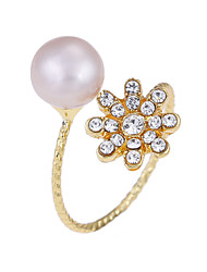 Lureme Women's 18K Gold Plated Freshwater Pearl with Crystal Flower Adjustable Open Ring