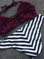 Womens  Lace Up  Striped And Wine Bikini Swimsuit
