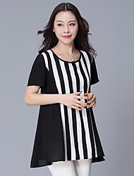 Tee-shirt Femme,Rayé Grandes Tailles Chic de Rue Eté Sans Manches Col Arrondi Polyester Moyen