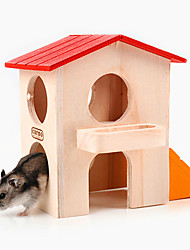 A hamster cage Two layers of trumpet wood house Color wooden nest Villa building