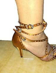 Customizable Women's Dance Shoes Latin Leatherette / Sparkling Glitter Customized Heel Black / Brown
