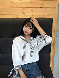 Sign in spring 2017 Korean version of the new Japanese small fresh soft sister playful stripes hit color blouse