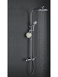 Art Deco/Retro Shower System Rain Shower Widespread with  Ceramic Valve Two Handles Three Holes for  Chrome , Shower Faucet