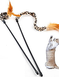 Игрушка для котов Игрушки для животных Дразнилки Игрушка с перьями Матовый черный Текстиль
