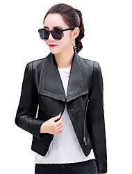 Women's Going out Simple Spring Leather Jacket,Solid Shirt Collar Long Sleeve Short PU