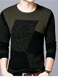 Men's Casual/Daily Simple Regular Pullover,Solid Round Neck Long Sleeve Wool Winter Medium Micro-elastic