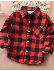Going out Casual/Daily Check Blouse,Cotton Winter Fall