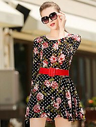 Sign European and American big new autumn and winter long-sleeved floral print dress send waist belt