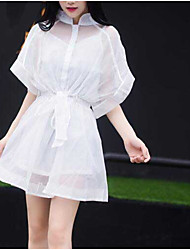 Camisole summer Korean long section of sunscreen organza blouse piece dress real shot