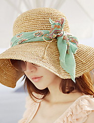Women 's Summer Big Bow Green Bow Ribbon Bowknot Beach Holiday Sunscreen Woven Straw Hat