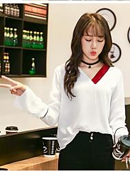 Знак 2017 корейский простой ретро заклинание цвет v-образным вырезом труба рукав шифон рубашка женщина колледж ветер головой