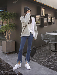 signer 2017 printemps et en automne nouveau jeans stretch pantalon femelle crevés fonds de cloche à franges d'épissage coréen