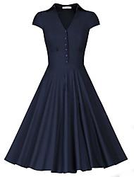 Women's Going out Work Skater Dress,Solid V Neck Knee-length Short Sleeve Polyester Summer Mid Rise Micro-elastic Medium