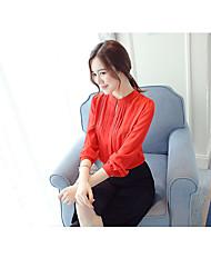 Damen Solide Einfach Lässig/Alltäglich T-shirt,Rundhalsausschnitt Langarm Polyester Mittel