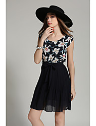 Real shot in Europe and America summer new chiffon floral stitching pleated dress