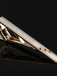 Personalized Tie Clips Men's Metal Necktie Bar Gold Plated Crystal Formal Dress Shirt Wedding Custom Engraved Tie Clip