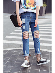 Women's Straight Jeans Pants,Casual/Daily Street chic Solid Ripped Mesh Mid Rise Zipper Button Cotton Micro-elastic Summer