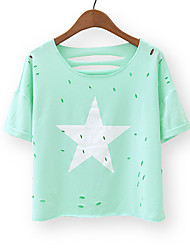 unterzeichnet neuen bonbonfarbenen Loch kurzen Absatz 2016 Sommer wilder hohler fünfzackigen Stern Kurzarm-T-Shirt Frauen gedruckt