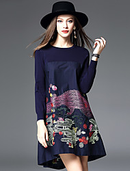 Women's Going out Casual/Daily A Line Dress,Embroidered Round Neck Knee-length Long Sleeve Wool Fall Winter High Rise Micro-elastic Thin