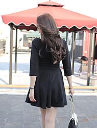 hepburn petite robe noire originale rétro mince était mince v-cou plissé robe à manches longues sexy bustier noir