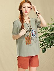 adicionar cor verão nacional vento patch bordado flores mulheres jardas t-shirt camisa de linho de algodão solto