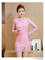 Sign 2017 spring new Korean Slim lace beaded lace collar bottoming Dress